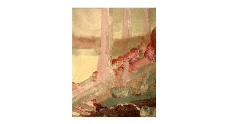 "Study - Gethsemane Trees 18"" x 20"" watercolor on paper"